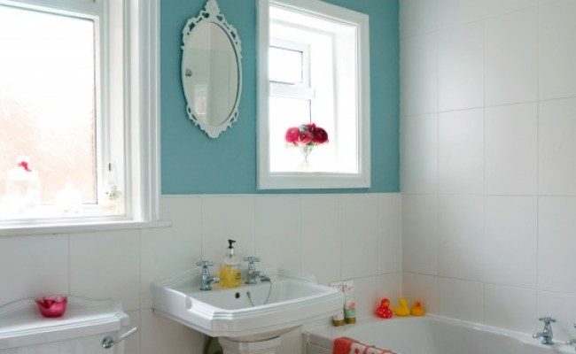 Compact Bathroom With Colourful Feature Wall Small