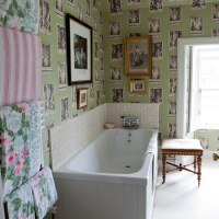 Bathroom with quirky wallpaper | Traditional bathroom ...