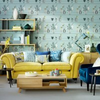 Teal living room with yellow sofa | How to decorate with ...