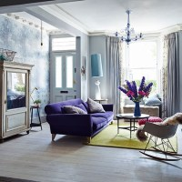 Eclectic living room with purple sofa | Decorating ...