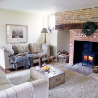 Country living room with inglenook fireplace | Decorating ...