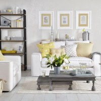 Grey living room with pale gold and yellow