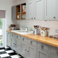 Grey Shaker-style kitchen with wooden worktop | Decorating ...
