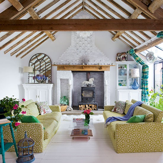 Eclectic living room with beams