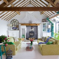 Eclectic living room with beams | Open-plan living room ...