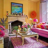 Bright yellow and pink living room | Decorating ...