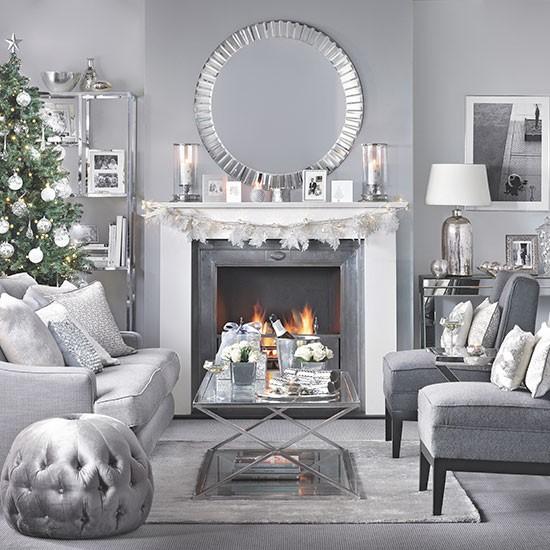 Silver and grey Christmas living room