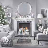 Silver and grey Christmas living room