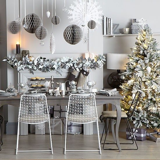 Grey and silver Christmas dining room  Decorating