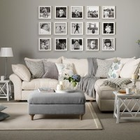 Grey and taupe living room with photo display | Decorating ...