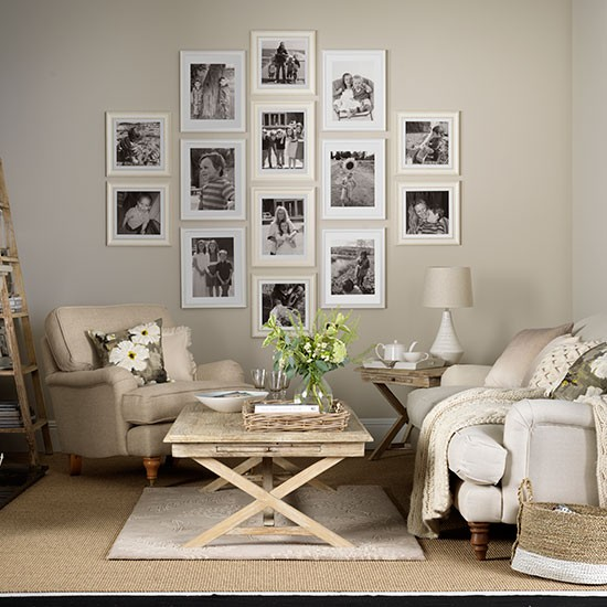 neutral living room ideas Neutral living room with photo display | Decorating | housetohome.co.uk