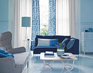 Blue Pattern Curtain