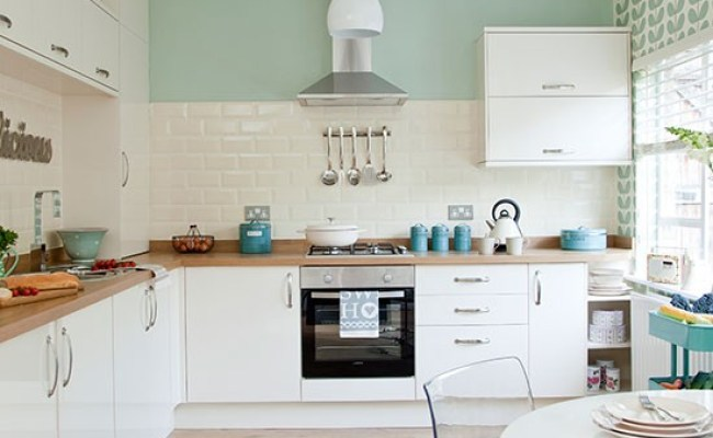 Traditional Kitchen With Pastel Green Walls Decorating
