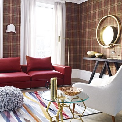 Living room with tartan wallpaper | Decorating ...