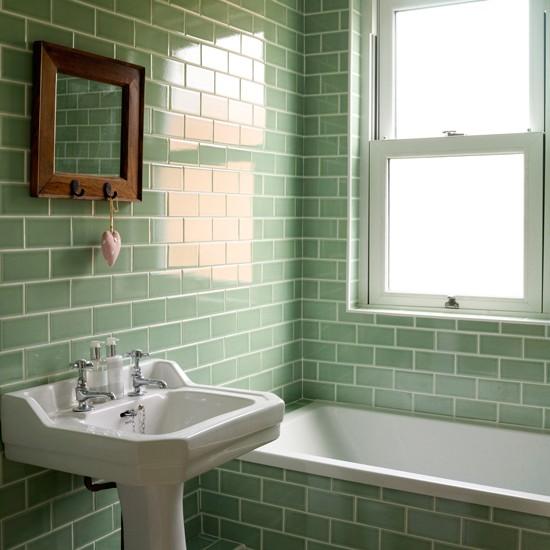 metro tiles bathroom ideas Bathroom with green metro tiles | Decorating with tropical