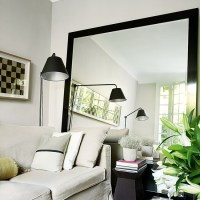 Living room with oversized mirror | Rented property ...