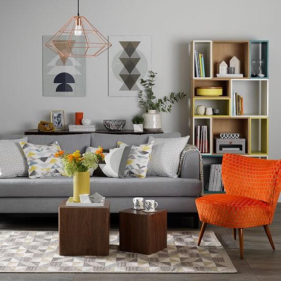 blue striped sofa uk urban home grey living room with orange chair | scandinavian design ...