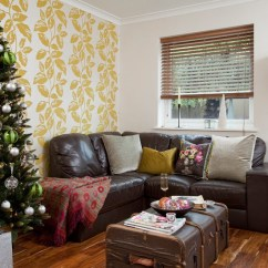 Best Place To Buy Leather Sofa Loft M S Country Christmas Living Room With Yellow Feature ...
