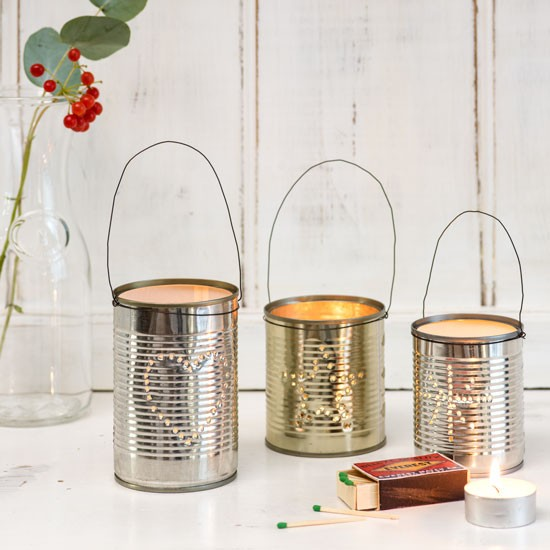 White Christmas living room with tin can lanterns  Budget