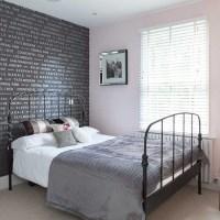 Grey typographical wallpaper   Bedroom wallpaper ideas ...