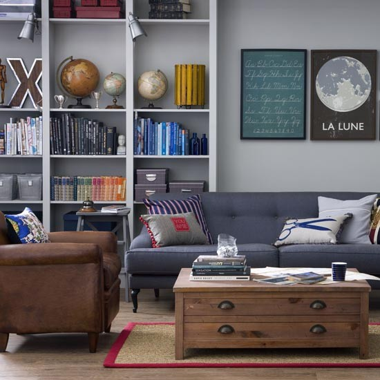 Smart grey and navy living room