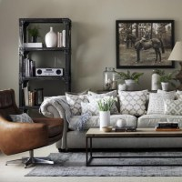 Grey living room with leather armchair | Great schemes ...