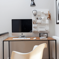 Hallway home office with sculptural wall storage   Home ...