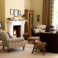 Yellow traditional living room with tartan upholstery ...
