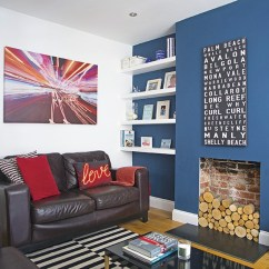 Blue Striped Sofa Uk Cotton Covers Australia Living Room With Dark Feature Wall | Decorating ...