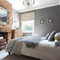 Grey bedroom with brick fireplace | 20 gorgeous grey ...