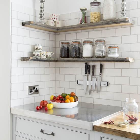 Neutral kitchen with shelves  Best kitchen shelving ideas