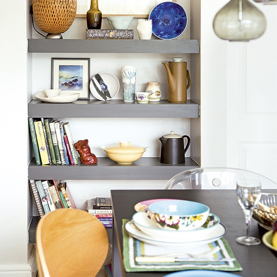 Dining room with smart grey alcove shelving  housetohomecouk