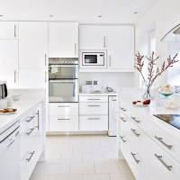 White gloss kitchen with floor to ceiling units ...
