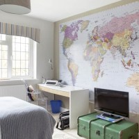 Teen boy's room with map mural | Boys bedroom ideas and ...