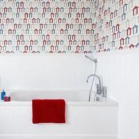 Beach hut print wallpaper | Bathroom wallpapers ...