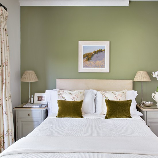 Pretty bedroom with olivegreen feature wall  housetohome