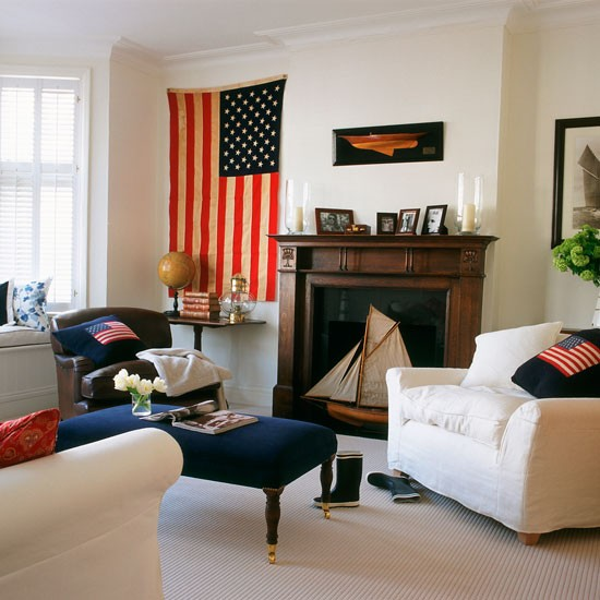 Americana living room with stars and stripes wall hanging