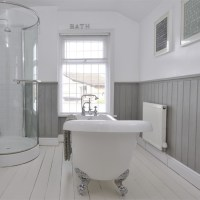 Tongue and Groove half panelled wall | Grey bathroom ideas ...