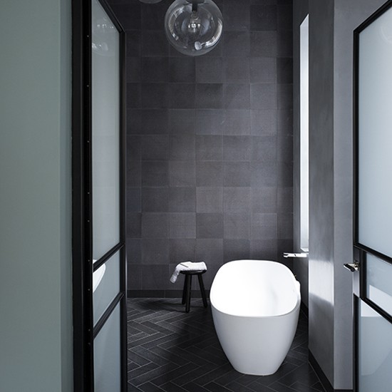 Charcoal tiled bathroom