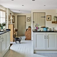 Shabby chic kitchen with stripped and painted wood floor ...