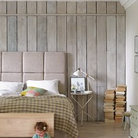 Plank wood wallpaper effect feature wall | Feature walls ...