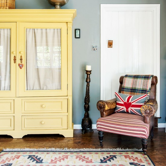 Country living room with yellow dresser  housetohomecouk