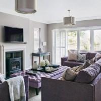 Light grey living room with lilac sofa | housetohome.co.uk
