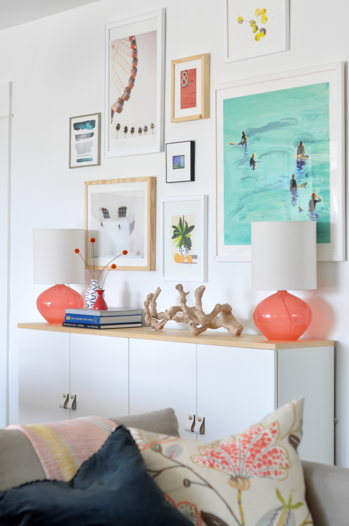 modern pastel gallery wall west elm lamps