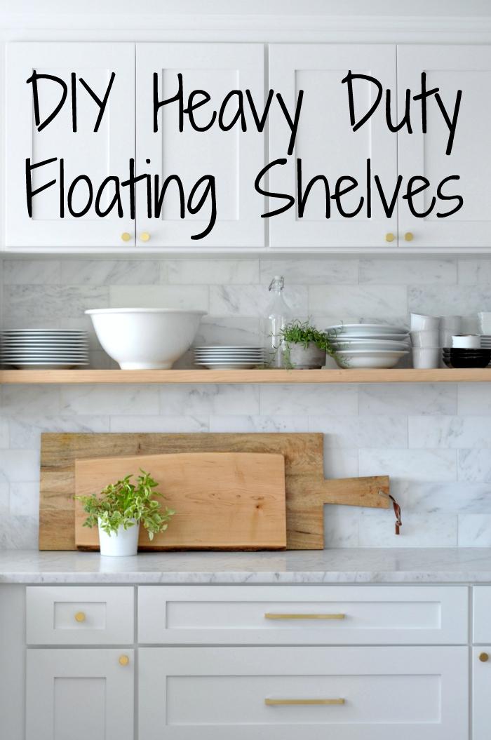 DIY Heavy Duty BracketFree Floating Kitchen Shelves