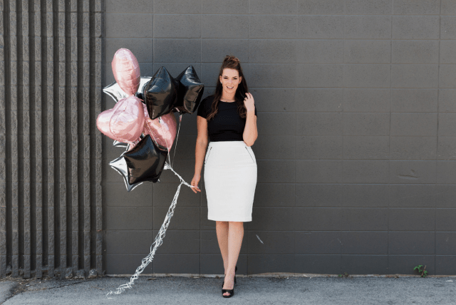 White Pencil Skirt Birthday Photoshoot Ideas