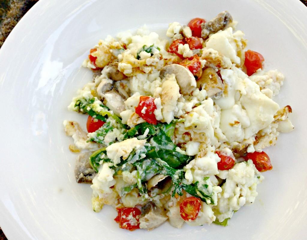 scrambled egg whites and vegetables