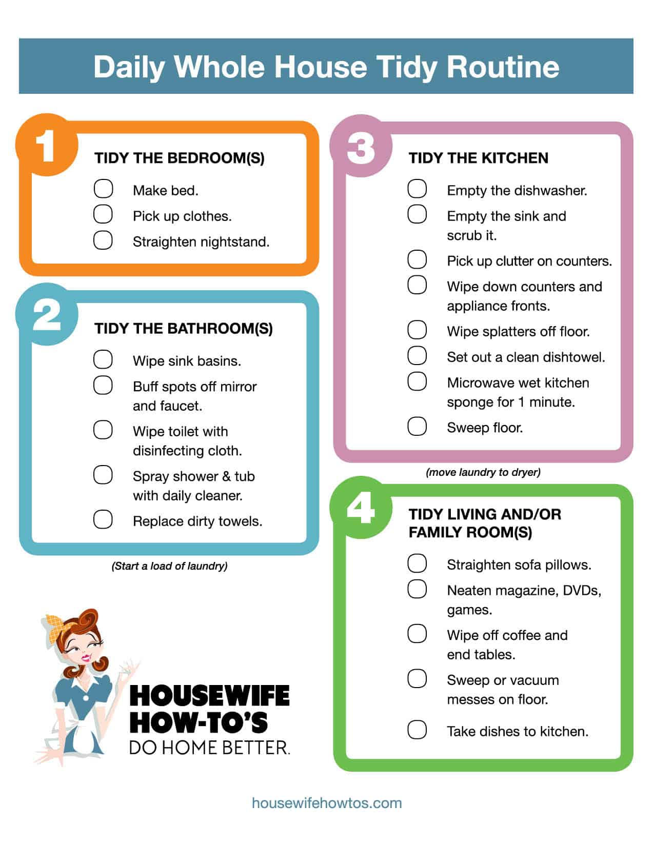 Daily Cleaning Routine Checklist Housewife How Tos