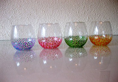 Wine Glasses With Painted Designs