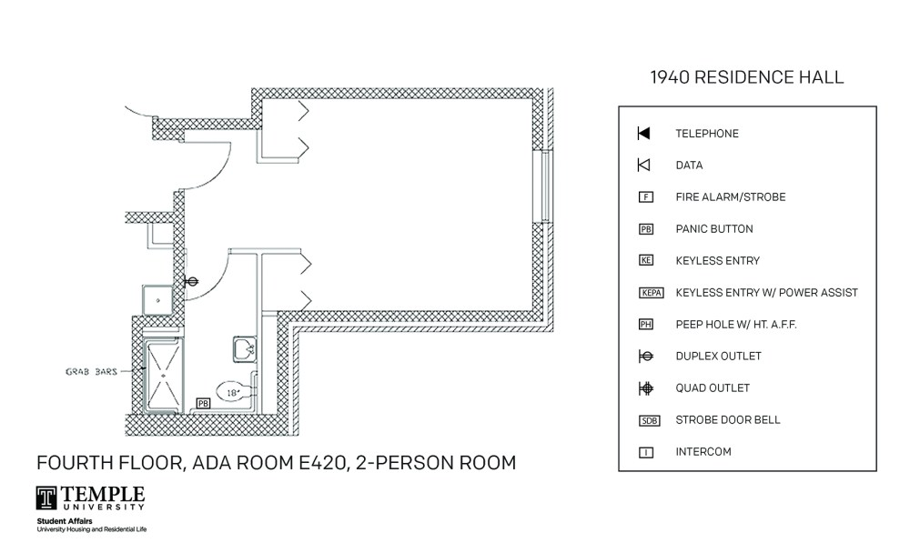 medium resolution of accessible room diagrams 2 person 1 bedroom suite e420 2 person 1 bedroom suite e420